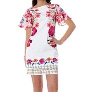 NWT Desigual White Floral Shift Dress Size 12